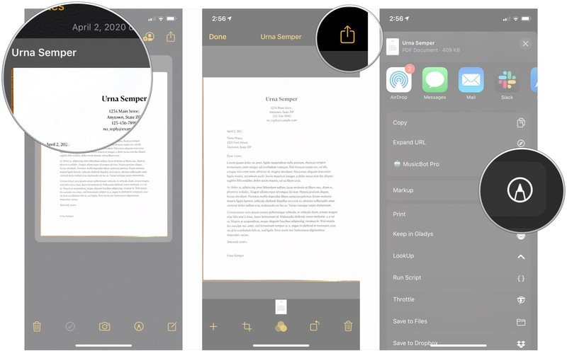 Mark up scanned documents, showing how to tap your scanned document, tap the share button, then tap Markup