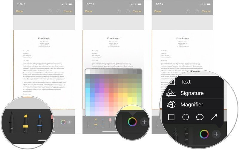 Mark up scanned documents, showing how to tap a tool, tap the color picker, then tap +