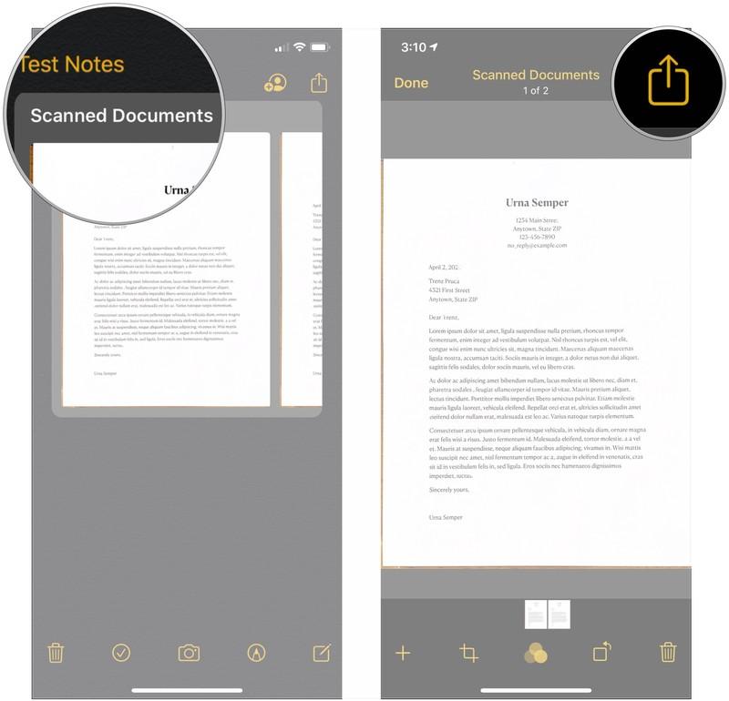 Share a scanned document, showing how to tap the scanned document, tap share