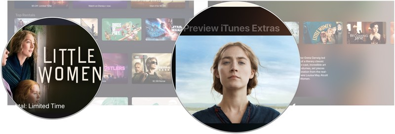 Finding iTunes Extras showing you how to click on a movie, then click on the iTunes Extras preview