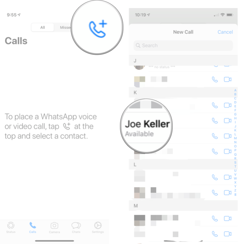 Calling A Contact in WhatsApp: Launch WhatsApp, tap chats tab, tap the contact you want to call, and then tap the call button.