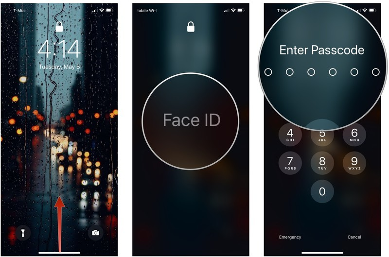 Use Face ID bypass on iPhone showing how to swipe up from the bottom of the screen, tap Face ID, and enter your passcode