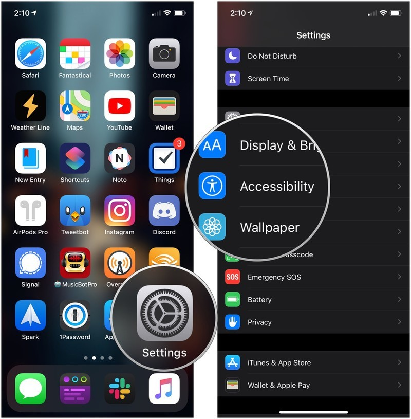 Make text bold showing how to open Settings on your iPhone, then tap Accessibility