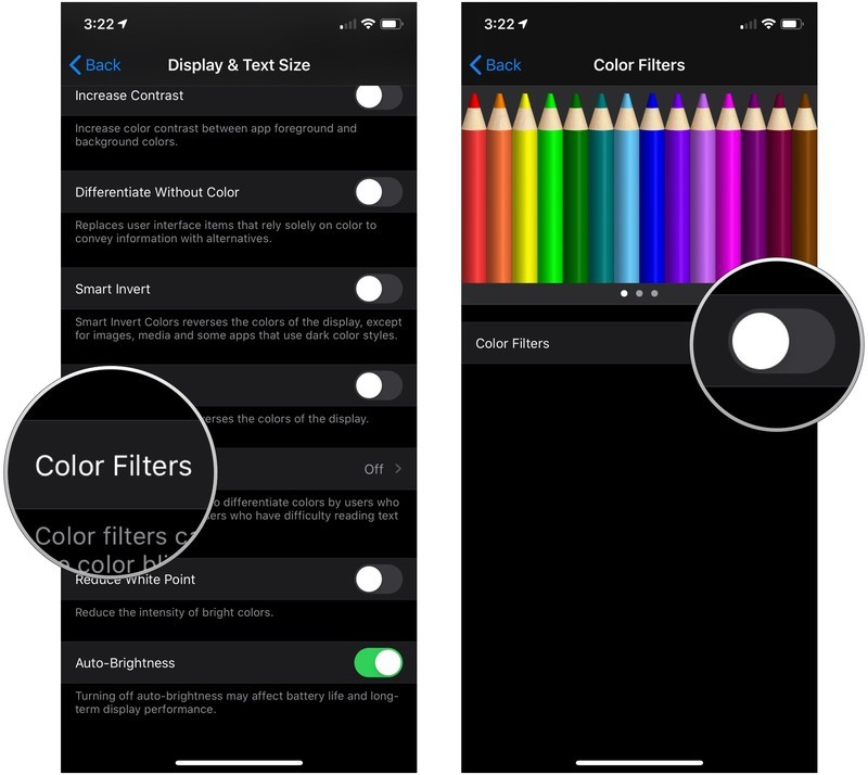 Enable Color Filters, showing how to tap Color Filters, then tap the switch next to Color Filters