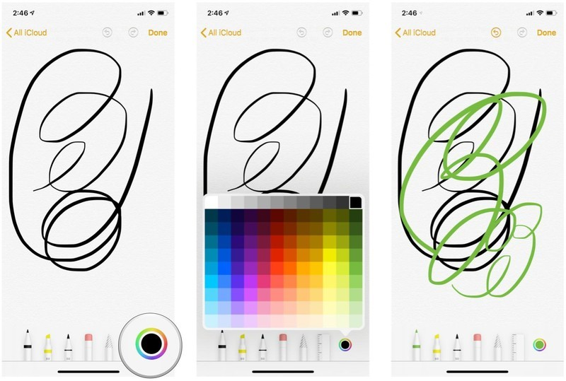 Select colors in Notes sketch pad for iPhone and iPad by showing: Tap the Color Picker tool, select your color, and then draw. The color picker applies to the currently selected tool