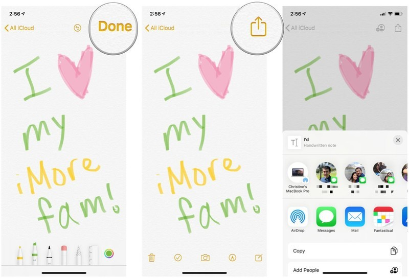 Share sketches from Notes on iPhone and iPad by showing steps: Tap Done, tap Share, choose your sharing method
