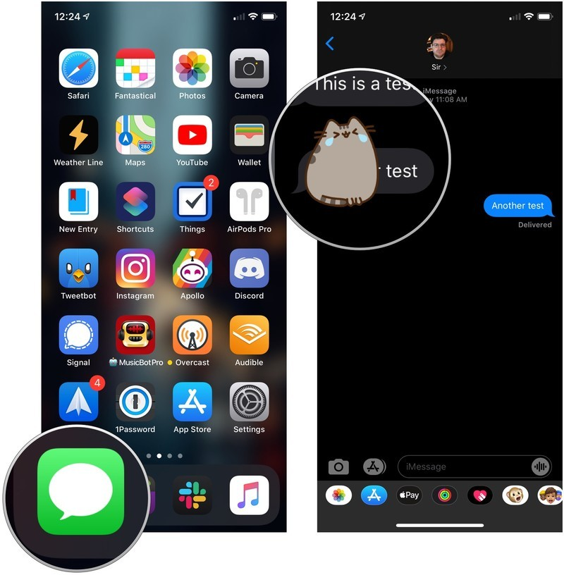 How to delete an attached sticker from a chat bubble showing how to open messages and tap and hold the sticker to be deleted