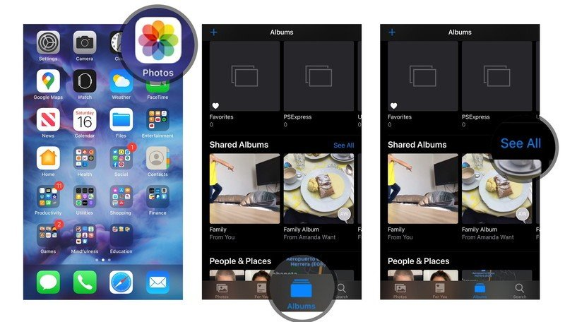 View Shared Photo Albums on iPhone and iPad by showing steps: Open Photos, tap Albums, tap See All