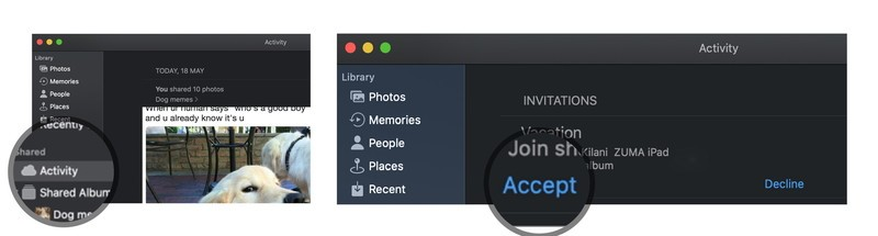 Subscribe to a Shared Photo Album on macOS by showing steps: Open Photos, Select Activity, tap Accept or Decline