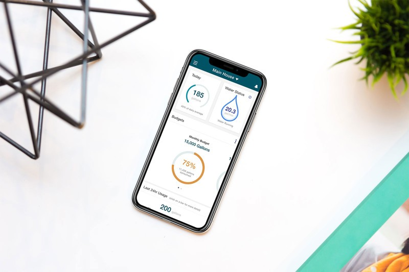 Flume Smart Home Water Monitoring System app on a smart phone