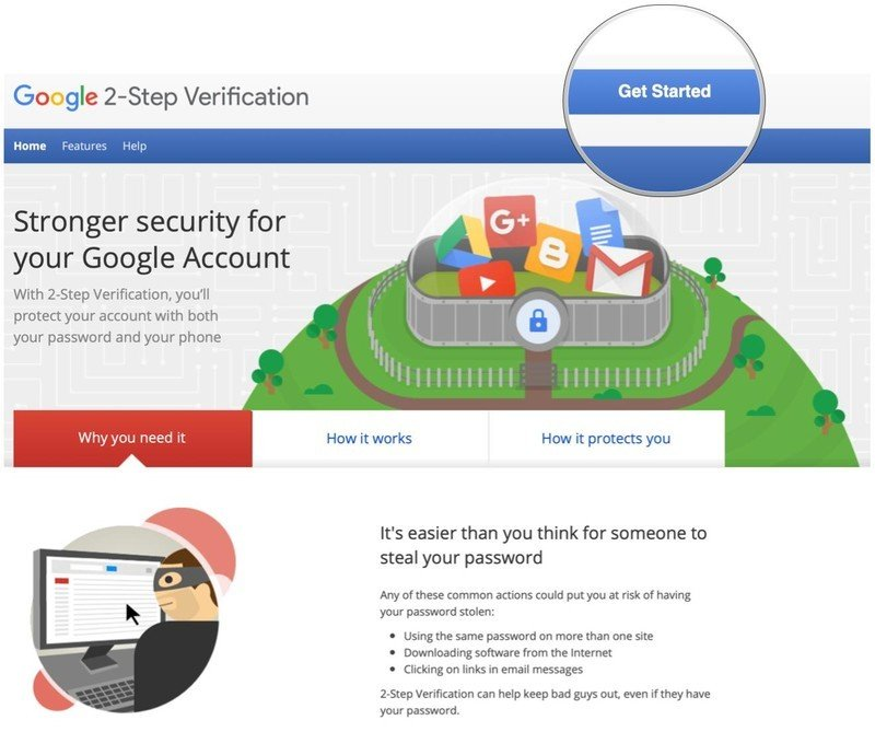 Set up Google account 2-factor authentication by showing steps: Tap Get Started on the main Google 2FA page