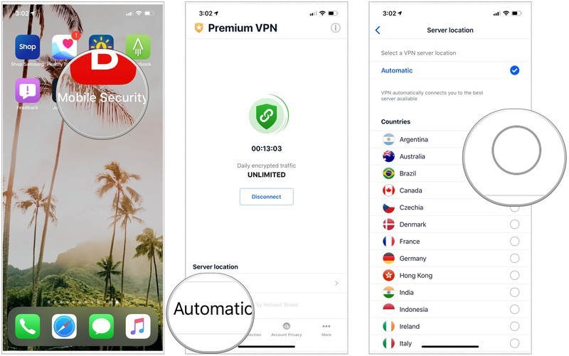 To hide your current location, tap on the VPN app on your iPhone. Look for, then select the Server Location. Change your location to one of the locations on the list.