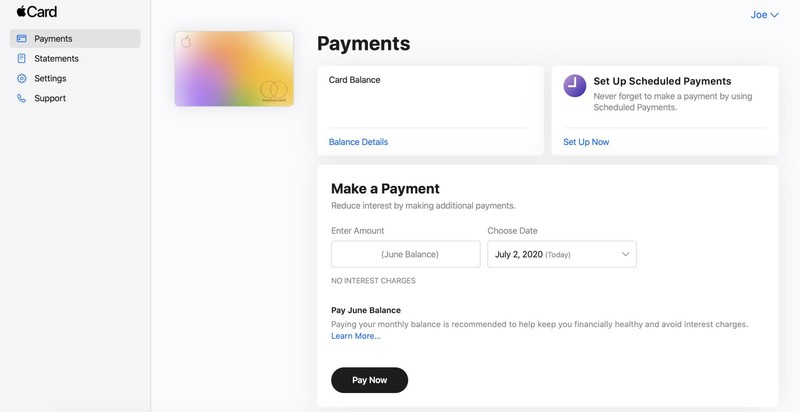 Apple Card Website Payments