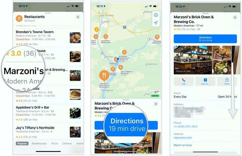 To find a nearby location, tap on a location under the category you selected, then choose Directions for information on how to get there. You can also scroll down for more information