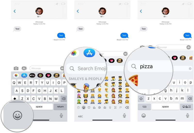 Search for emoji, showing how to tap the emoji button, then tap the search field, then search for your emoji