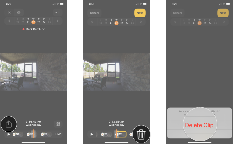 How to delete recorded video in the Home app on the iPhone by showing steps: Tap the Share icon, Tap the Trash icon, Tap Delete Clip