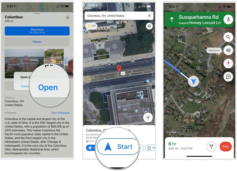 Confirm you want to open the directions in Google Maps. In Google Maps, tap Start to begin your journey.