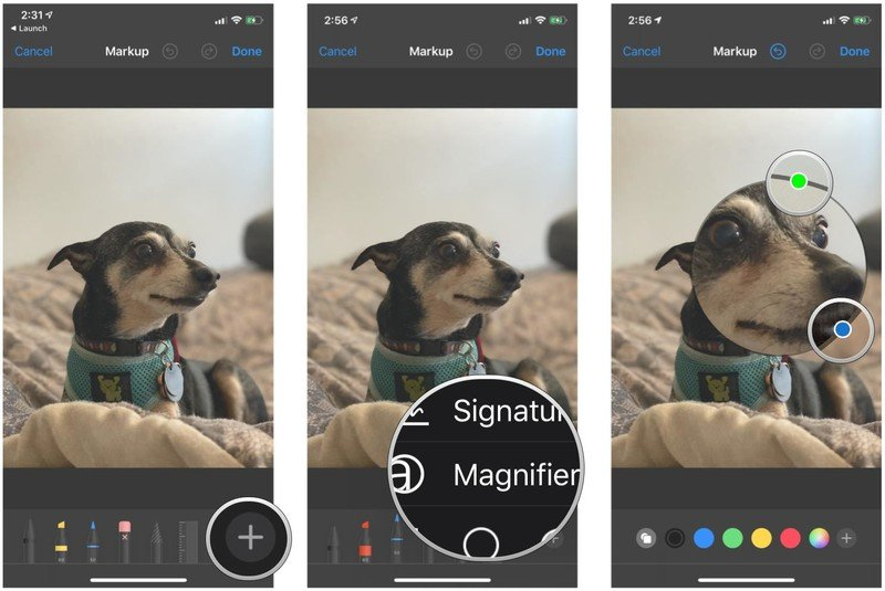 How to make a callout in the Markup editor in Photos on iPhone and iPad by showing steps: Tap the Plus button, tap Magnifier, touch and drag the circle to highlight any aspect of the image