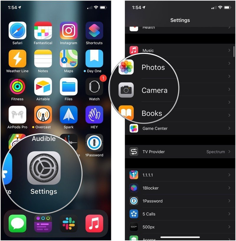 Take JPEG photos, showing how to open Settings, then tap Camera