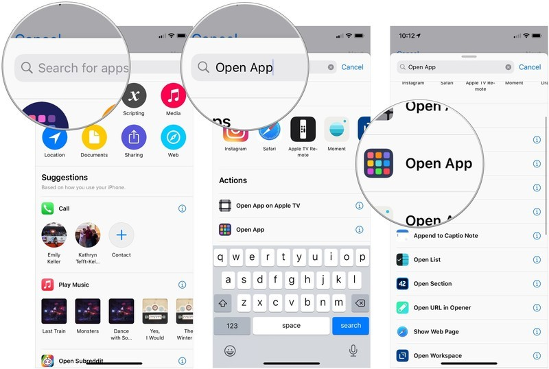 Add Camera-opening shortcut to Back Tap, showing how to tap the search bar, search for Open App, then tap Open App