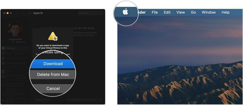 Stop iCloud login loop, showing how to click Download or Delete from Mac, then click the Apple logo