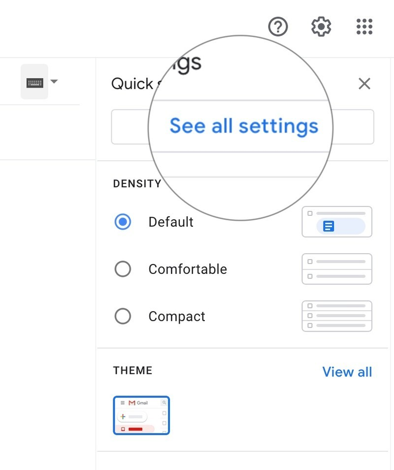 How to disable image loading in Gmail by showing steps: Go to settings on Gmail, click on See all settings