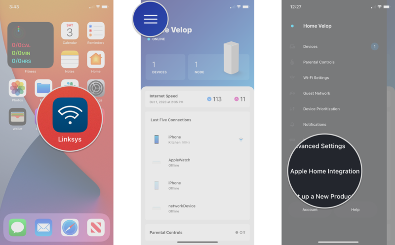 How to upgrade your Linksys Velop router to a HomeKit Secure Router on the iPhone by showing steps: Launch the Linksys app, Tap the Menu Button, Tap Apple Home Integration