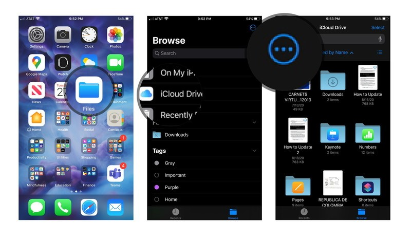 How to manually create a folder in iOS: Open Files, Tap iCloud Drive, Tap three dots.