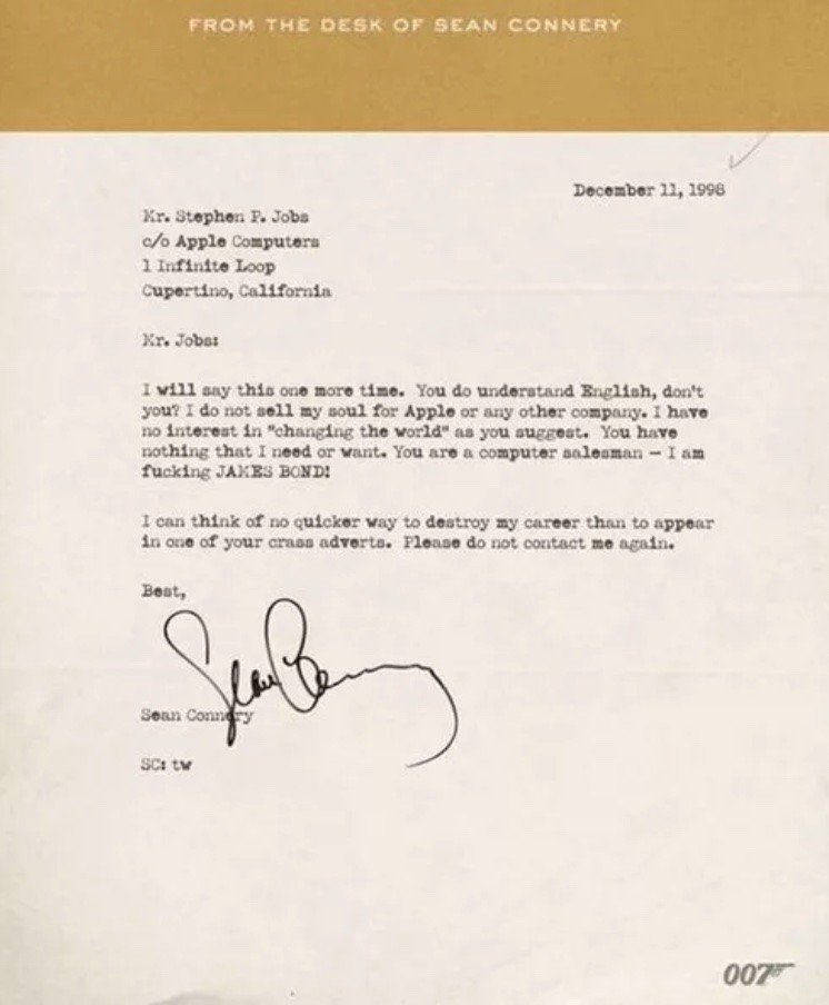 Fake Connery Letter To Jobs