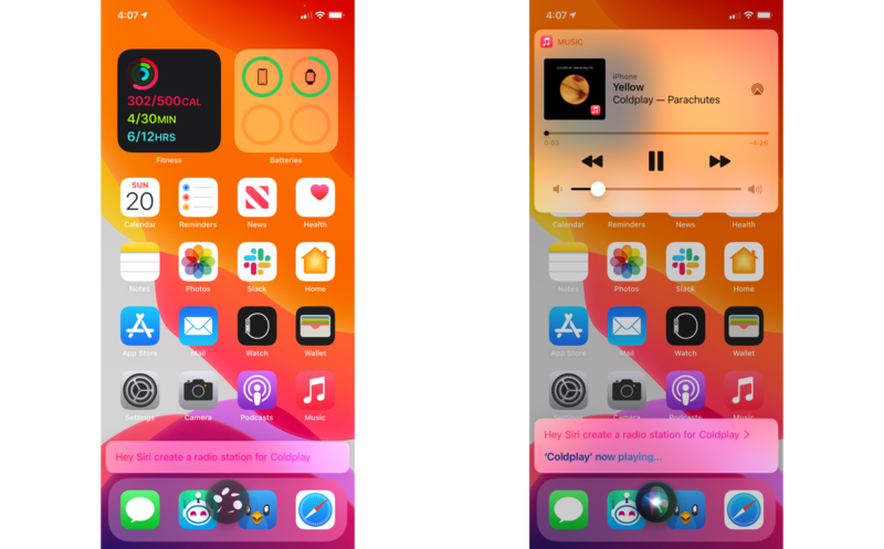 """How to use Siri to find and listen to music on HomePod and HomePod mini by showing steps on an iPhone: Give a command like """"Hey Siri, create a radio station for Coldplay"""""""