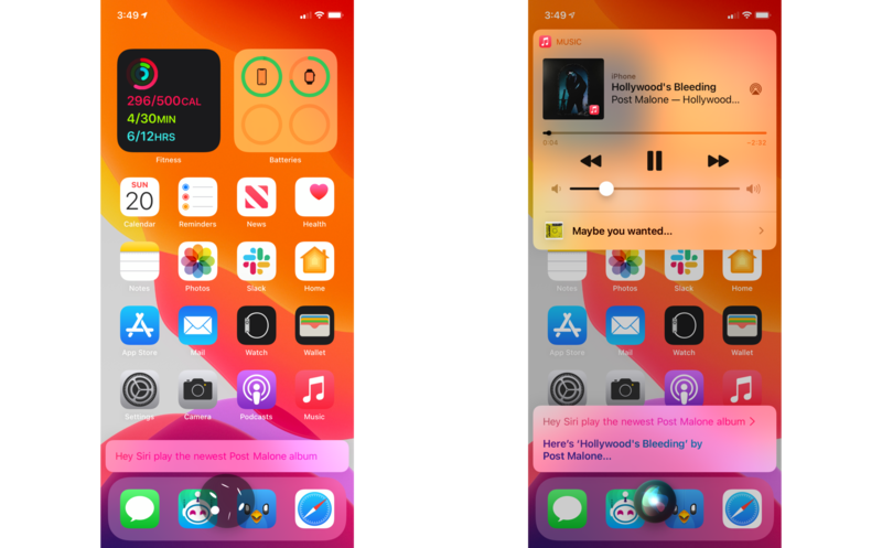 """How to use Siri to find and listen to music on HomePod and HomePod mini by showing steps on an iPhone: Give a command like """"Hey Siri, play the newest Post Malone album"""""""