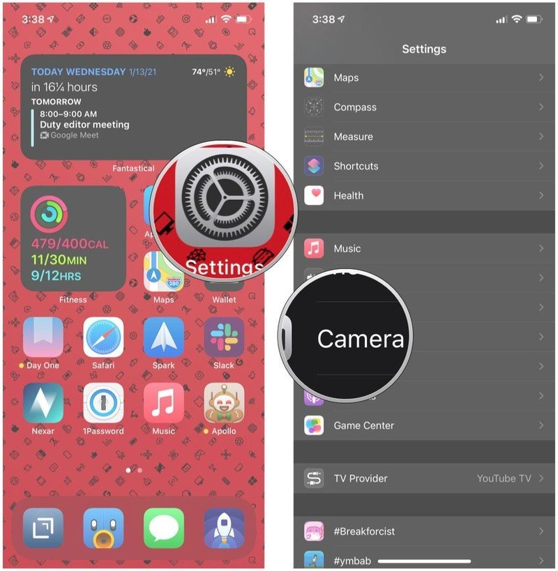 How to enable ProRAW on iPhone 12 Pro or Pro Max by showing steps: Launch Settings, scroll down and tap Camera