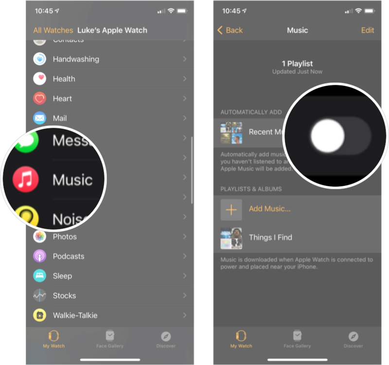Automatically Adding Music To Apple Watch: Tap Music and then tap the on/off switch next to the playlists under the automatically add section.