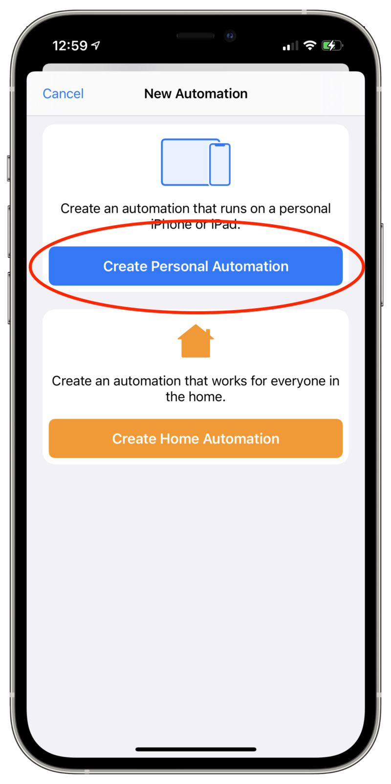 Screenshot showing New Automation page with options for Create Personal Automation and Create Home Automation