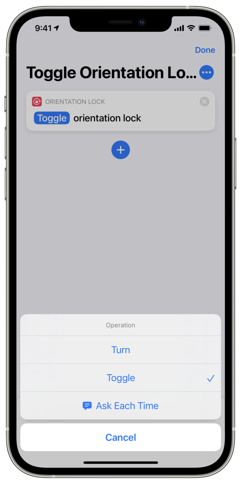 Screenshot showing action editor with Set Orientation Lock added.
