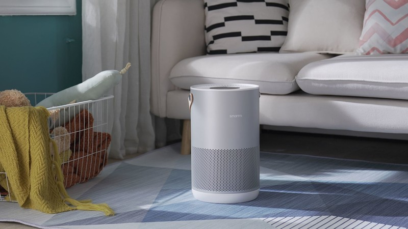 Smartmi P1 Air Purifier in silver on a rug