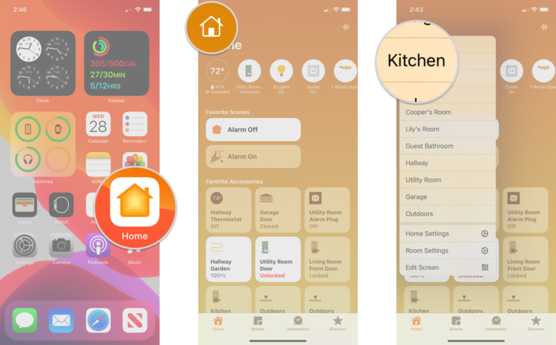 How to monitor and adjust the status of HomeKit accessories on an iPhone by showing steps: Launch the Home app, Tap the House icon, Tap on a Room
