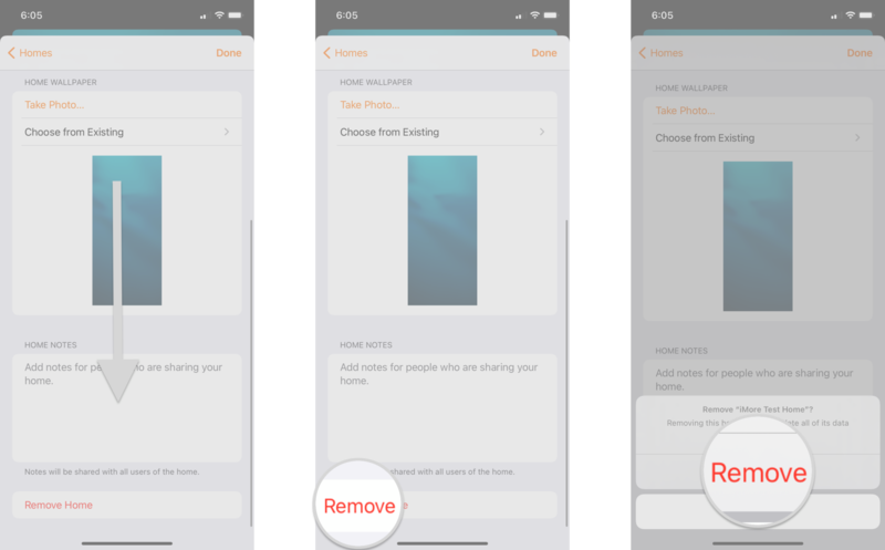 How to remove a home in the Home app by showing steps on an iPhone: Scroll downward until you see Remove Home, Tap Remove Home, Tap Remove