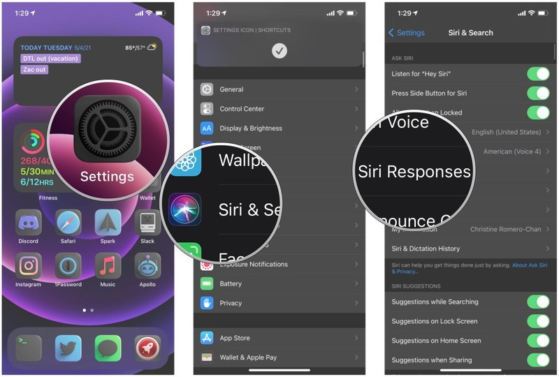 How to customize Siri responses on iPhone by showing: Launch Settings, tap Siri & Search, tap Siri Responses