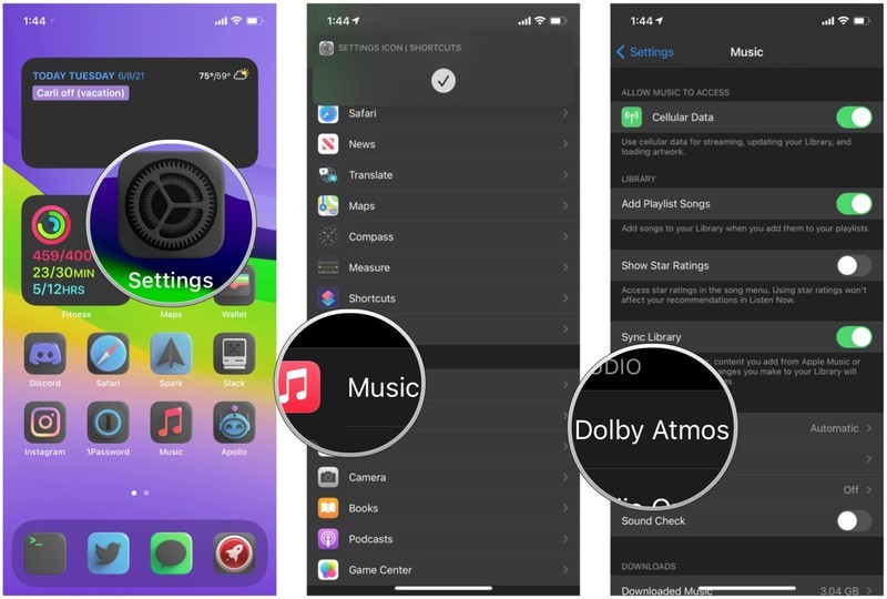 Turn on Apple Music Dolby Atmos Spatial Audio on iPhone by showing: Launch Settings, tap Music, tap Dolby Atmos