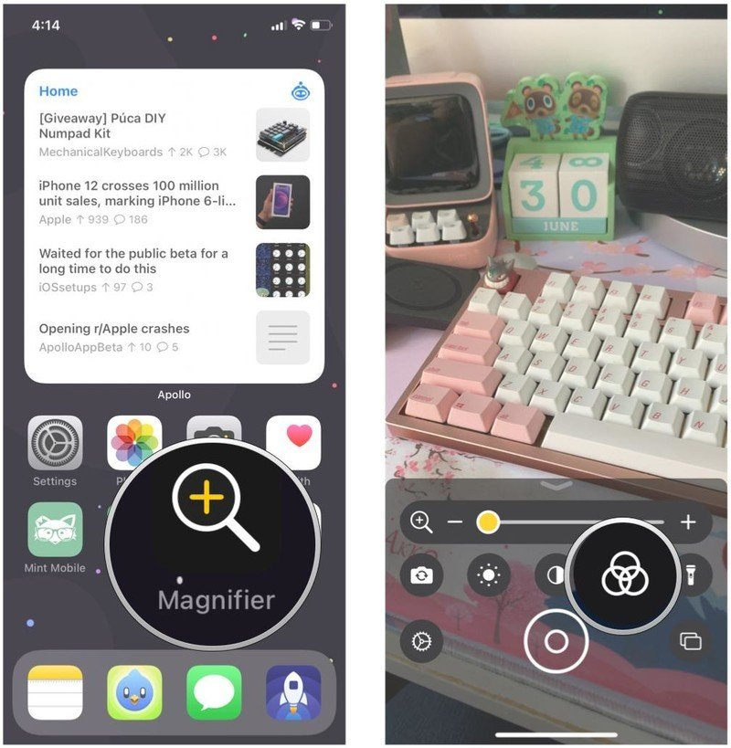 How to change the filter in Magnifier on iOS 15 by showing: Launch Magnifier, tap Filters