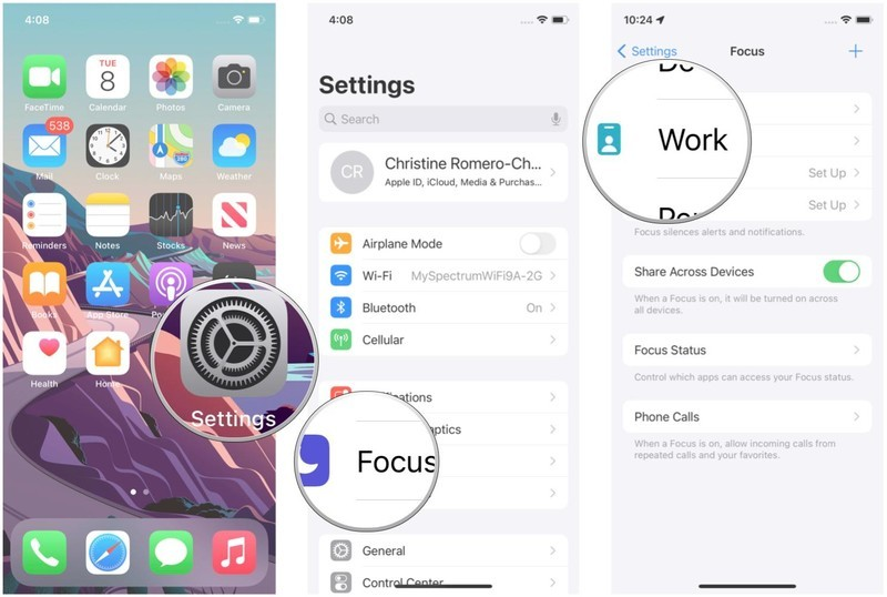 Customize the Home Screen in Focus on iPhone by showing: Launch Settings, tap Focus, tap the Focus you want to customize