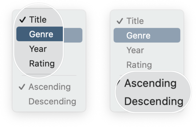 How To View And Sort Music In macOS Big Sur: Click title, genre, year, or rating, and then click ascending or descending.