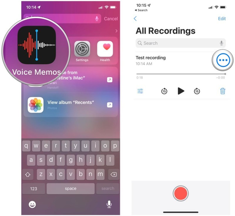 Share a voice memo on iPhone by showing: Launch Voice Memos, select recording, tap More button