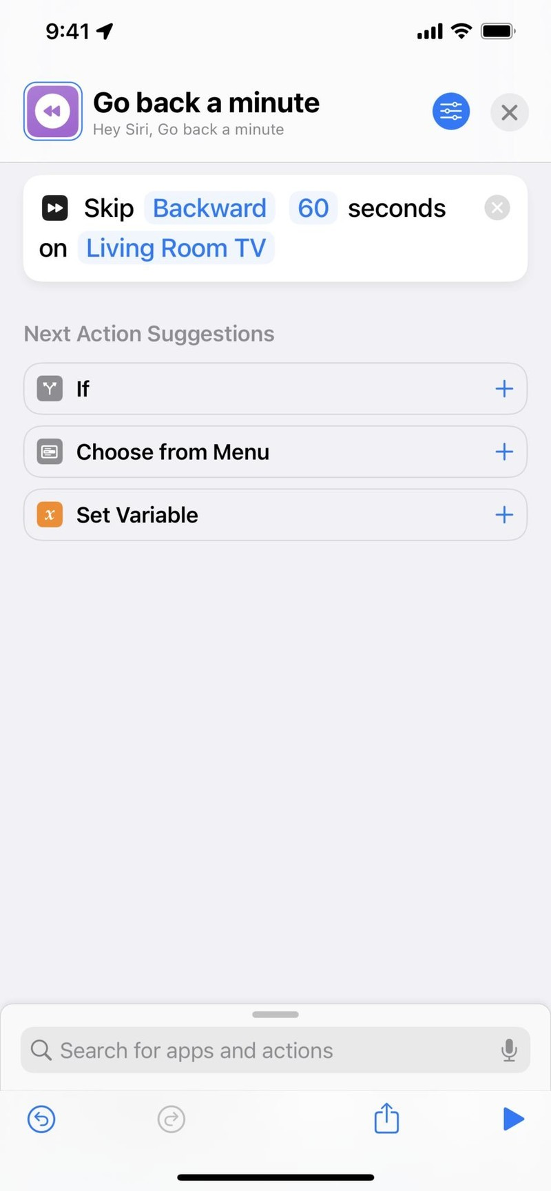 """Screenshot of a shortcut called """"Go back a minute"""" that uses the Skip Content action set to Backward for 60 seconds"""