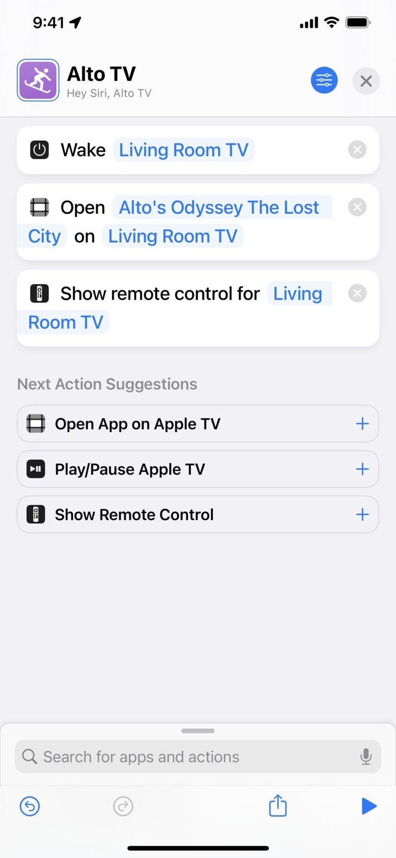 Screenshot of the Alto TV shortcut that wakes the TV, opens Alto's Odyssey: The Lost City and shows the remote.