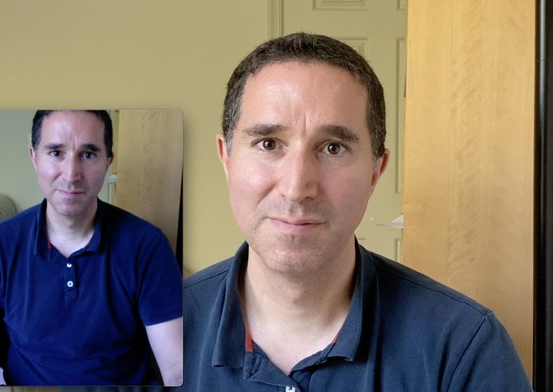 Comparison between FaceTime camera and an iPhone SE using Camo Studio, 1080p, daylight.