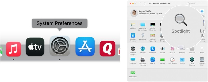 To tweak Spotlight indexing, click on System Preferences on the Mac dock, then choose Spotlight.