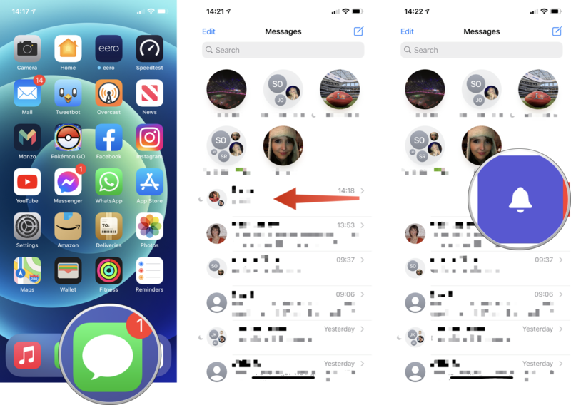 How to unmute conversations in Messages: Open Messages, swipe left on the coversation you want to unmute, tap the bell icon