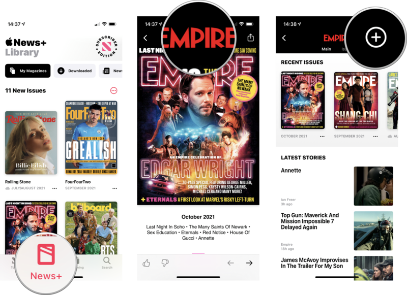 How to subscribe to magazines: Tap Apple News+, tap on a magazine, tap on the magazine's title, tap the plus icon